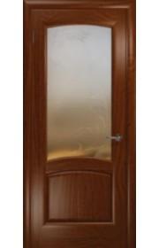 Дверь Покрова Леон Р Темный анегри стекло бронза с гравировкой