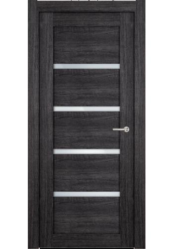 Двери Статус 121ТР Дуб черный стекло Триплекс белый