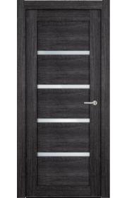 Двери Статус 121С Дуб черный стекло Сатинато белое