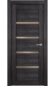 Двери Статус 121С Дуб черный стекло Сатинато бронза
