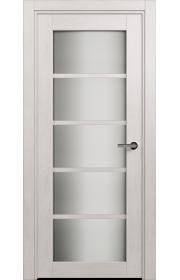 Двери Статус 122С Дуб белый стекло Сатинато белое