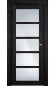 Двери Статус 122С Дуб черный стекло Сатинато белое
