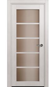 Двери Статус 122С Дуб белый стекло Сатинато бронза
