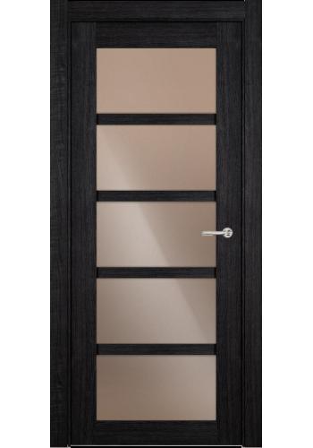 Двери Статус 122С Дуб черный стекло Сатинато бронза
