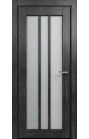 Двери Статус 136 Дуб черный стекло Сатинато белое