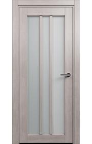 Двери Статус 136 Дуб серый стекло Сатинато белое