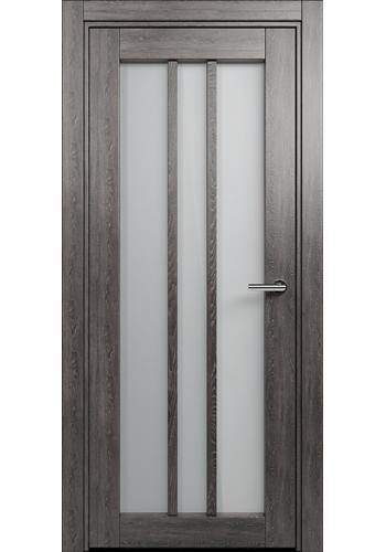 Двери Статус 136 Дуб патина стекло Сатинато белое