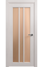 Двери Статус 136 Дуб белый стекло Сатинато бронза