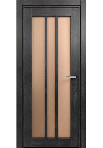 Двери Статус 136 Дуб черный стекло Сатинато бронза