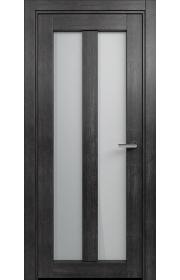 Двери Статус 135 Дуб черный стекло Сатинато белое