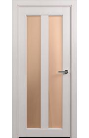 Двери Статус 135 Дуб белый стекло Сатинато бронза