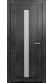 Двери Статус 134 Дуб черный стекло Сатинато белое