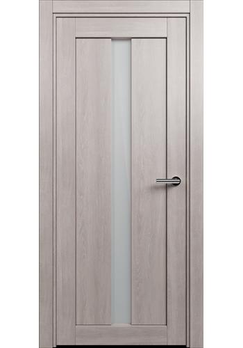Двери Статус 134 Дуб серый стекло Сатинато белое