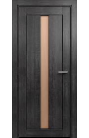 Двери Статус 134 Дуб черный стекло Сатинато бронза