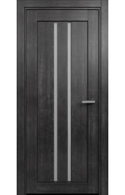 Двери Статус 133 Дуб черный стекло Сатинато белое