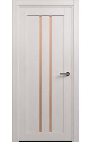 Двери Статус 133 Дуб белый стекло Сатинато бронза