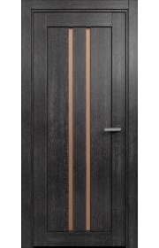 Двери Статус 133 Дуб черный стекло Сатинато бронза