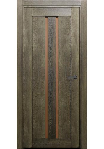 Двери Статус 133 Дуб винтаж стекло Сатинато бронза