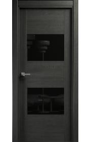 Двери Статус 221 Пепельный венге стекло Лакобель черное
