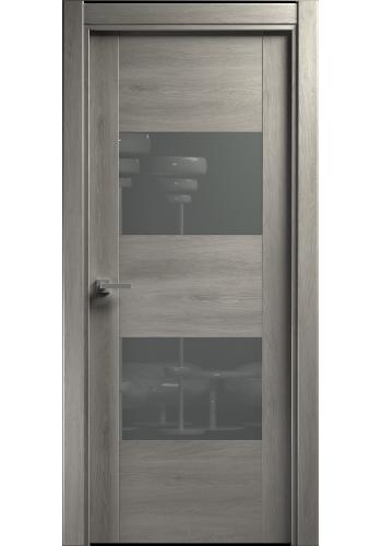 Двери Статус 221 Дуб серый стекло Лакобель серое