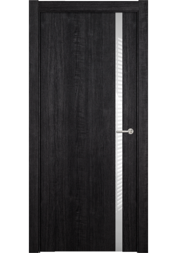 Двери Статус 321 Дуб черный стекло Лакобель белое