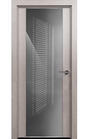 Двери Статус 423 Дуб серый стекло Лакобель серое