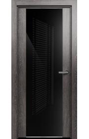 Двери Статус 423 Дуб патина стекло Лакобель черное