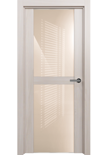 Двери Статус 422 Ясень стекло Лакобель бежевое