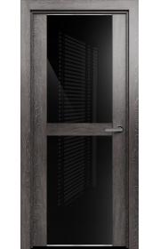Двери Статус 422 Дуб патина стекло Лакобель черное