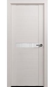 Двери Статус 411 Дуб белый стекло Лакобель белое