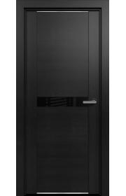 Двери Статус 411 Дуб черный стекло Лакобель черное