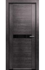 Двери Статус 411 Пепельный венге стекло Лакобель черное