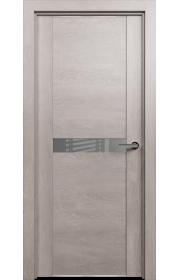 Двери Статус 411 Дуб серый стекло Лакобель серое