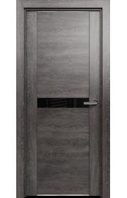 Двери Статус 411 Дуб патина стекло Лакобель черное
