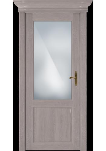 Двери Статус 521 Дуб серый стекло Сатинато белое матовое
