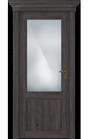 Двери Статус 521 Дуб патина стекло Сатинато белое матовое