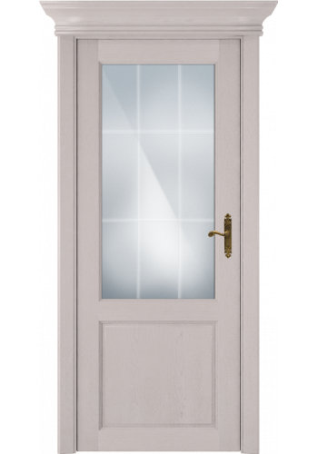 Двери Статус 521АР Дуб белый стекло Английская решетка