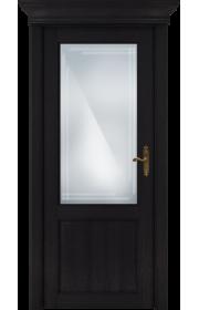Двери Статус 521АР Дуб черный стекло Английская решетка