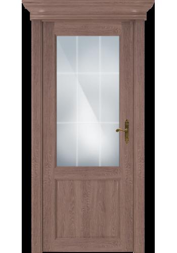 Двери Статус 521АР Дуб капучино стекло Английская решетка