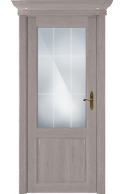 Двери Статус 521АР Дуб серый стекло Английская решетка