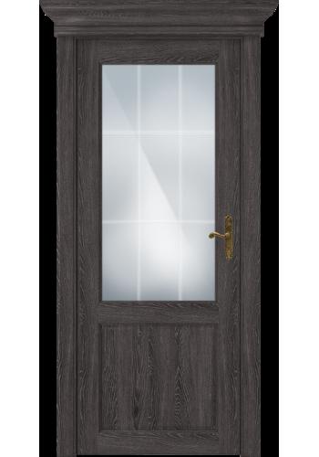 Двери Статус 521АР Дуб патина стекло Английская решетка