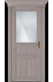 Двери Статус 532 Дуб серый стекло Сатинато белое матовое