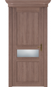 Двери Статус 534 Дуб капучино стекло Сатинато белое матовое