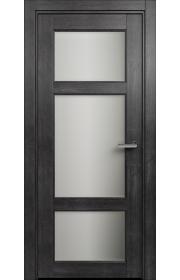 Двери Статус 542 Дуб черный стекло Сатинато белое матовое