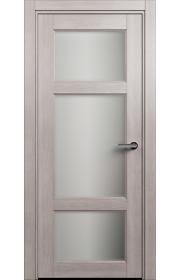 Двери Статус 542 Дуб серый стекло Сатинато белое матовое