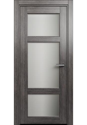 Двери Статус 542 Дуб патина стекло Сатинато белое матовое