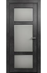 Двери Статус 542Ф Дуб черный стекло Фацет