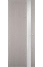 Двери Статус 703 Дуб белый стекло Лакобель белое