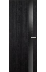 Двери Статус 703 Дуб черный стекло Лакобель черное