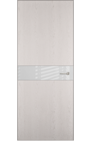 Двери Статус 702 Дуб белый стекло Лакобель белое
